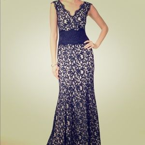 Tadashi Contrast Lace Waist Gown